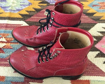 1980's Red Western Lace Up Ankle Boots Size 4 by Maeberry Vintage