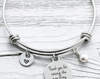 Mother In Law Bracelet for Mother's Day - Mother-In-Law Gift - Thank You for Raising the Man of My Dreams Bangle Bracelet - His Mom - Groom