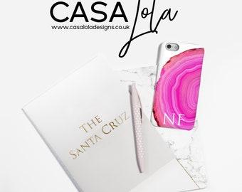 Personalised Pink Phone Case, Gemstone Personalized Phone Case, Crystal Phonecase, Initial Phone Case, Worldwide Shipping