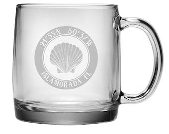 Custom Coordinates Seashell Coffee Mug S/4, Latitude Longitude Glassware, Latitude Longitude Coffee Mug, Personalized Coffee Cup