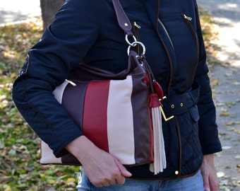 LEATHER HANDBAG, Leather Shoulder Bag, Leather Purse, Leather Hobo Bag, Leather Slouchy Bag, Everyday Bag