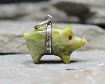 Antique Edwardian Silver Connemara Lucky Pig Charm Pendant