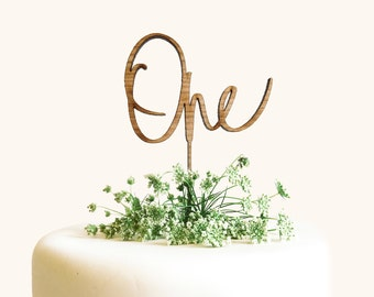 "Cake Topper ""ONE"" - Laser Cut Calligraphy Cake Topper - Hawaii Calligraphy"