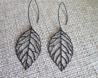 black earrings, long earrings, leaf earrings, dark earrings, modern earrings, lightweight earrings, black leaf earrings, goth earrings, gift