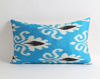 ikat pillow, silk ikat pillow cover, silk pillow, handwoven ikat, uzbek ikat pillow