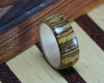 wood rings for men, bocote bentwood ring, wood weddingbands, wooden ring, mens wood wedding band, rings, wood jewelry