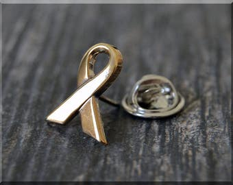 Brass Cause Ribbon Tie Tac, Lapel Pin, Support Brooch, Gift for Him, Gift Under 10 Dollars, Ribbon Tie Tack, Support Cause Unisex Pin