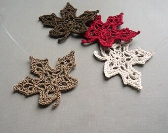 4 Crochet Maple Leaf Ornaments -- Multicolored Autumn Leaves -- Assortment M8
