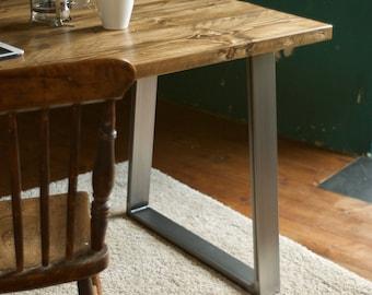 Desk Reclaimed Wood Industrial Trapezium Steel legs Rustic Vintage Custom Made 7MAGOK Table Scaffold Wood Office Desk Furniture Bespoke
