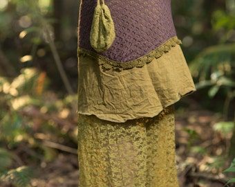 Pocahontas Skirt (Masala/Brown) - Festival Clothing Long Layered Crochet and Lace Gypsy Boho Tribal Indie Bohemian Rave Crochet Pocket Lace