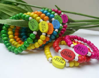 Girls Best Friends wooden beaded stretchy bracelets, Girls Party Favors, Bracelet party favors, girls bracelets