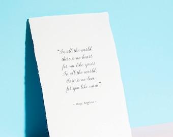 Cotton Anniversary Paper gift 2nd Wedding Anniversary  Gift - Maya Angelou Quote Calligraphy Print