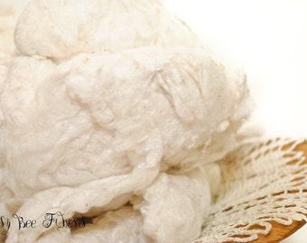 SILK NOIL - Undyed Silk Noil for Carding, Dyeing, Spinning, Felting, Blending, Papermaking - 2 oz