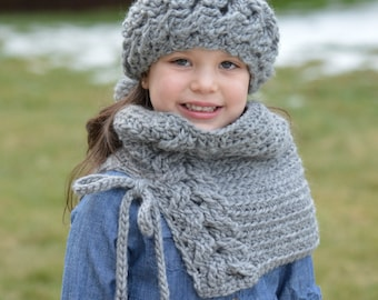 Crochet Head Warmer and Cowl Set. Toddler 2T-4T.