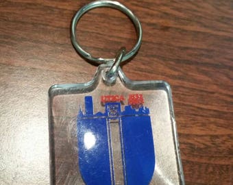Utica plastic tag keychain