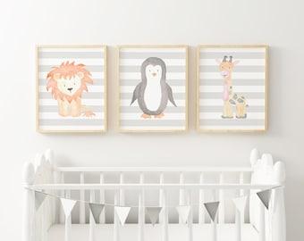 PRINTABLE | Trio | Lion, Penguin, Giraffe | Watercolor | Watercolour | Nursery Print | Wall Art | Decor | Drawing | Animals | Baby