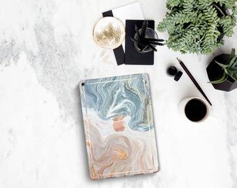 """Brown Nacre Marble with Rose Gold Detailing Vinyl Skin Decal for the iPad Air 2, iPad mini 4 , iPad Pro 10.5"""" , iPad Pro 12.9"""" - Platinum"""