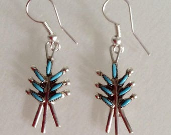 Zuni  Native American Sterling Silver Turquoise Petit Point Dangle Earrings
