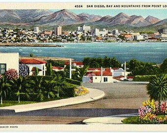 Vintage California Postcard - San Diego, Bay and Mountains from Point Loma (Unused)