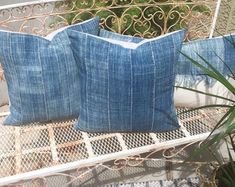 Authentic African Tribal Indigo Denim Mudcloth Pillow Covers  20x20    Boho Batik  Indigo Blue