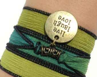 Silk Wrap Bracelet Live Laugh Love Yoga Jewelry Green Earthy Bohemian Unique Gift For Her Under 30  V60