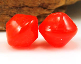 Made to Order, Red Poppy Saucer Beads Lampwork Glass beads, Bead Pair, SRA, Artisan Beads, Donna Trull