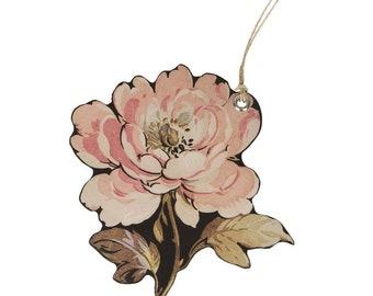 French Rose Gift Tag Shabby Chic Vintage English Rose Gift Tag Label