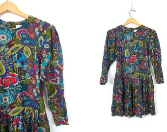 90s Floral Mini Dress Colorful Rayon Floral Print BOHO Dress Long Sleeve Vintage Blue Flower Pattern Dress Womens Size 2 XS Small
