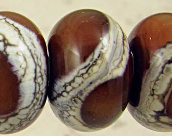 Light Russet Brown Lampwork Glass Bead Set with Organic Webbing Set of 6 Small 11x7mm