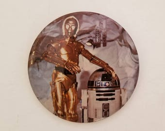 "Star Wars R2-D2 + C-3PO 3"" Empire Strikes Back Metal Button Pin Vintage 1980 NOS"