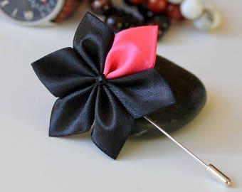 Lapel Pin Black Flower Pink Petal Men Accessories