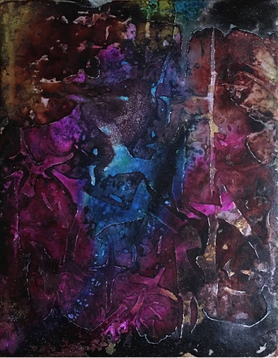 """Original Alcohol Ink Abstract Painting: """"Complexity"""" (11"""" X 14"""")"""