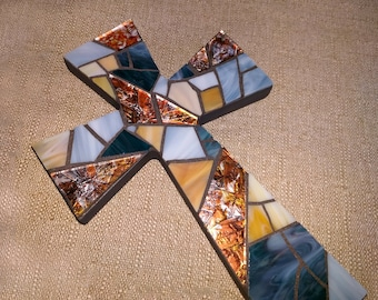 Nautical Stained Glass Wall Cross, Glass Mosaic Cross, Blue Amber Cross, Beach Decor, Beach Glass Wall Cross, Baptism Blue Cross