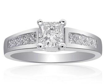 1.25 Carat F-SI2 Natural Princess Cut Diamond Engagement Ring 14K White Gold