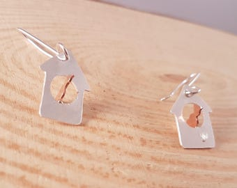 Hand Made Sterling Silver and Copper Bird House Drop Dangle Earrings, Animal Earrings, Silver Drop Earrings, Birdhouse Earrings