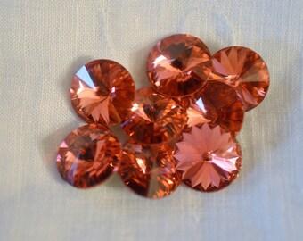 12 pieces 1122 Padparadscha 12mm Swarovski Crystal Rivolis