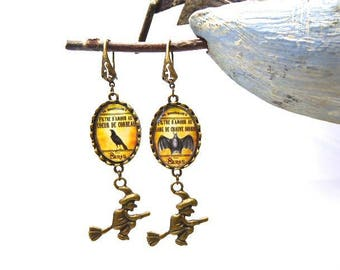 Earrings cabochon theme witchcraft halloween little witch