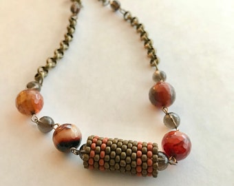 Banded agate, smoky quartz and peyote necklace on antique bronze chain