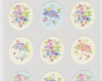Pretty Flower Stickers - Umbrella Stickers - Hallmark - Reference L6324-25