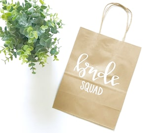 Bride squad- wedding party gift bags, bachelorette party, bridesmaids gift bags, bachelorette gift bags, custom gift bags, bride squad bags