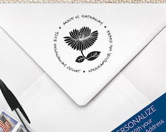 Round Floral Address Stamp   Round Pre-Inked Return Address Stamp   Custom Made Stamp   MS-R2