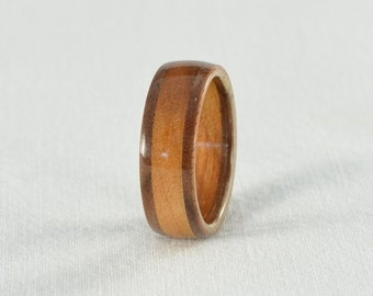 Wood Ring - Walnut and Cherry Wood Ring - Wedding Ring, Wedding Band, or Engagement Ring - All Natural - Handmade