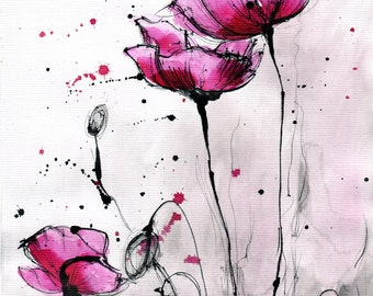 8x12in ink painting -  abstract fuchsia pink poppies - poppy flower painting - ver 2