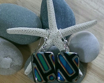 Blue and Yellow Striped Lampwork Earrings