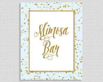 Mimosa Bar Shower Sign, Blue & Gold Glitter Shower Table Sign, Wedding, Baby Shower Bar Sign, INSTANT PRINTABLE