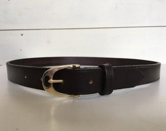 Stirrup buckle leather belt
