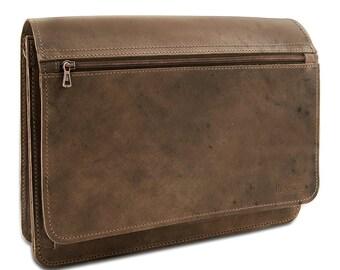Laptop bag-messenger bag Bangkok in dark brown genuine leather incl. THIELEMANN-Made in Germany