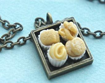 danish butter cookies necklace- miniature food jewelry, cookies necklace
