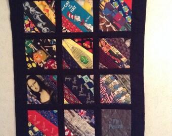 Men's Tie Quilt Memory Wall Hanging