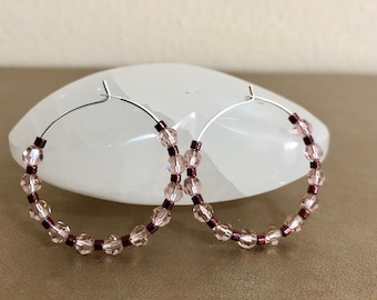 Pink Swarovski Crystals Hoop Earrings